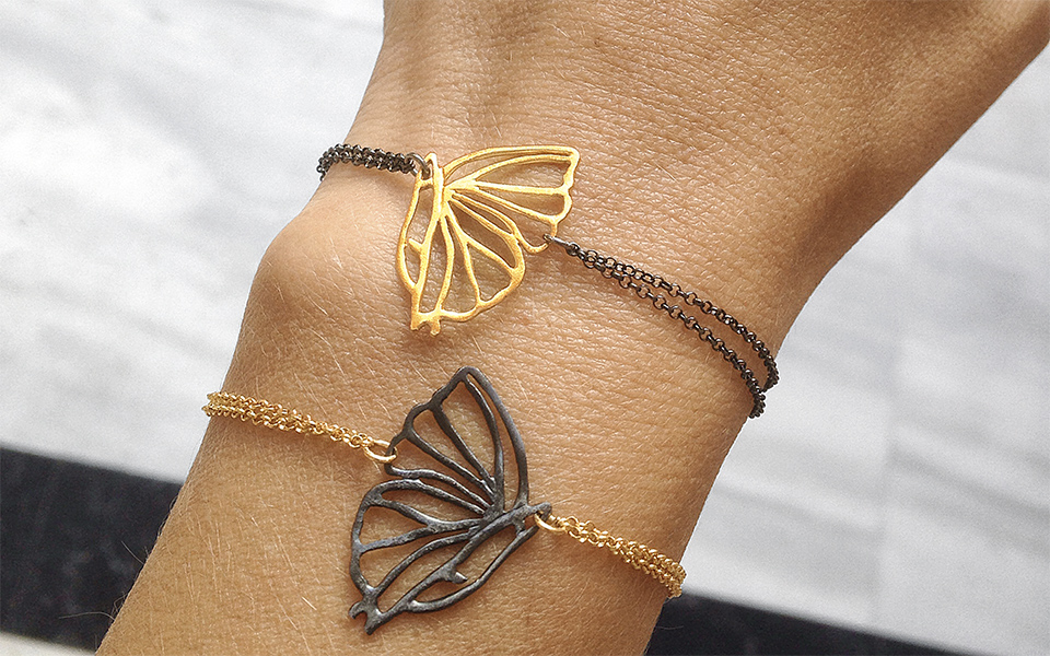 1bccca77b630b7 Delicate Madame Butterfly bracelets with rhodium and gold plating.