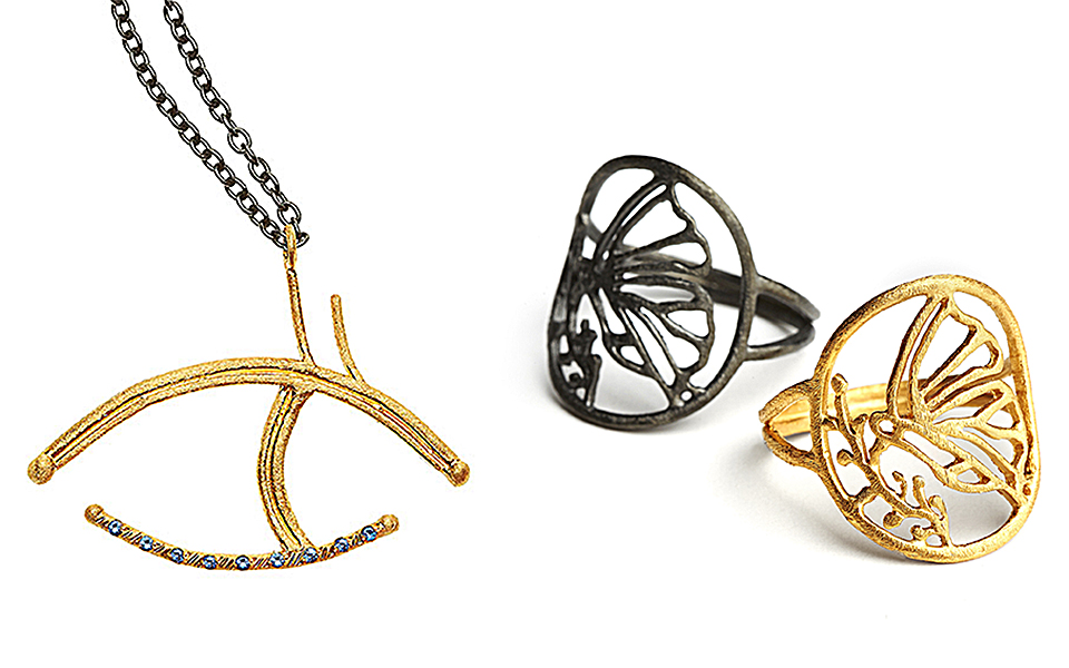 c7f6b8e9a83d82 A modern take on the Greek eye motif and rings from the Madame Butterfly  collection. A modern take on the Greek eye motif and rings from the Madame  ...