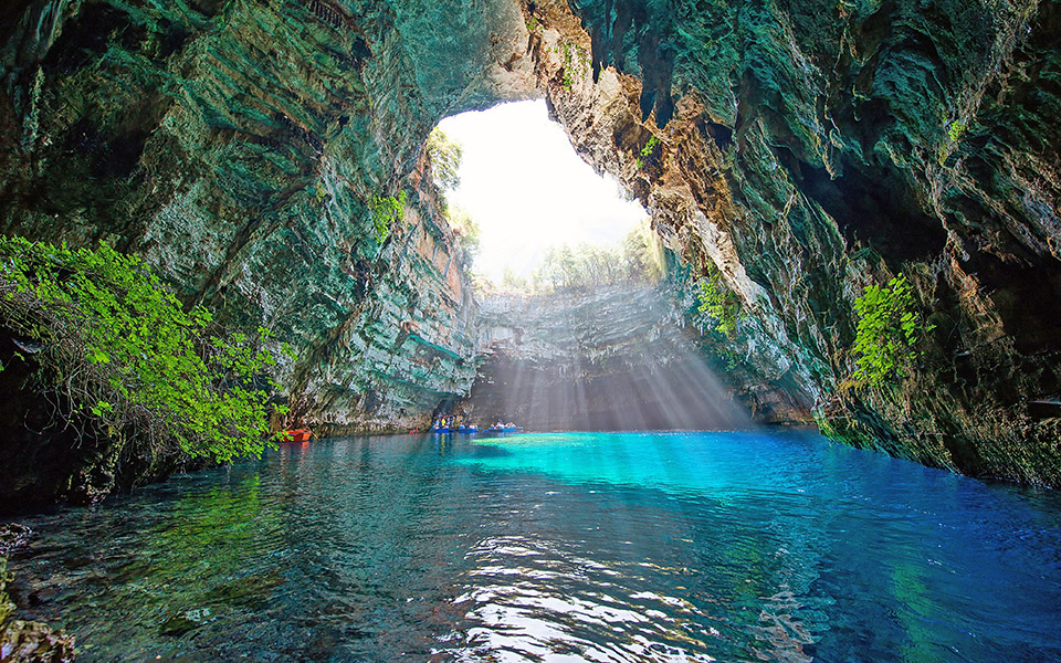 The incredible blue caves of greece greece is - Nature ke wallpaper ...