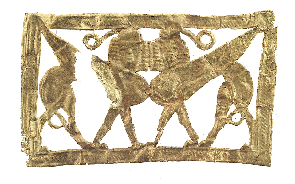 <h5>Gold cut-out sheet with heraldic sphinxes dating back to 700-630 BC</h5>