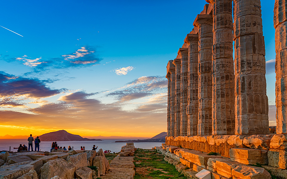 The Temple of Poseidon, built in 444 BC, is a spectacular sight to behold, especially  during sunset.