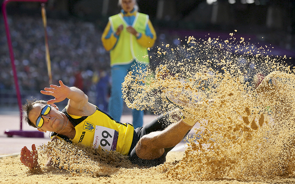 LONDON, ENGLAND - SEPTEMBER 04:  Ruslan Katyshev of Ukraine competes in the Men's Long Jump - F11 Final on day 6 of the London 2012 Paralympic Games at Olympic Stadium on September 4, 2012 in London, England.  (Photo by Julian Finney/Getty Images)