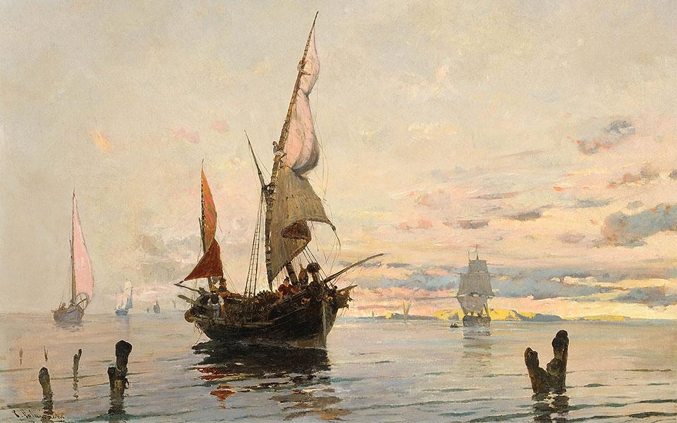 ΒΟΛΑΝΑΚΗΣ-Καράβια,-καΐκια-και-βάρκες,-Φέρνοντας-την-1880-1882-54-χ-74-εκ.-Ιδιωτική-συλλογή