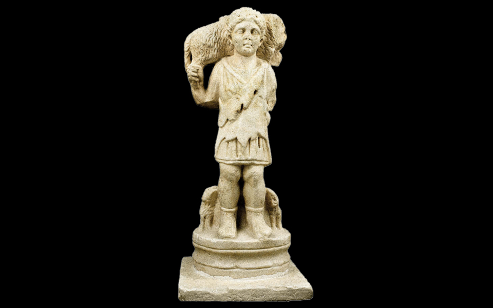 <h5>Table leg depicting the Good Shepherd</h5>