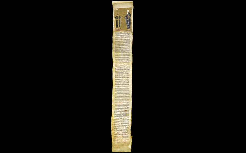 <h5>Chrysobull of Andronikos II (1301) on vellum sheets glued together</h5>