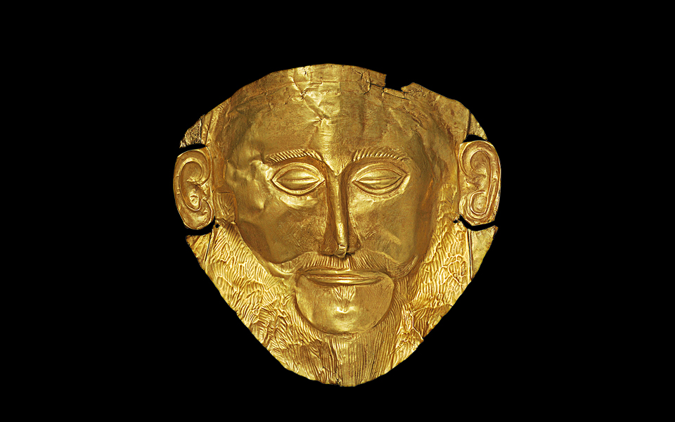 """<h5>MASK OF """"AGAMEMNON"""" (16th CENT. BC)</h5>"""