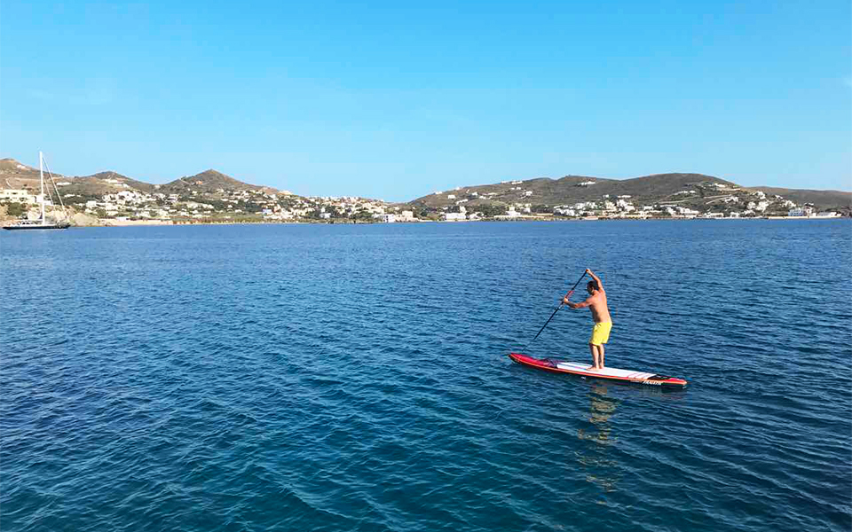 Stand-up paddleboarding off Syros / Credit: Personality Journeys